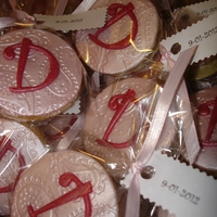 "Bridal Shower Cookie Mini monogram sugar cookies made for ""jazzing"" up the place settings."