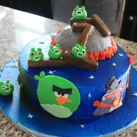 "Angry Birds Space Birthday Cake 9"" round cake covered in ABC and airbrushed dark blue with fondant cut out decorations. This design was a combination of several Angry..."