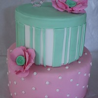 Pink Green Flower Cake This was a practice cake, but I suppose it could be used for bridal/baby shower or a little girls birthday. I took inspiration from a...