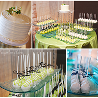 "Spring Green Cake Pops And Cutting Cake 6"" cutting cake with 165 cake stick-up cake pops."