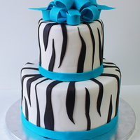 Zebra Two Tier With Sky Blue Bow