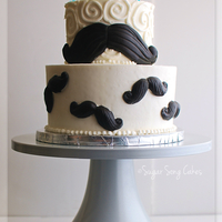 "Mustache Birthday Cake 5"" over 8"" buttercream cake with fondant mustaches. I'd love to say more, but I really mustache. . . ."