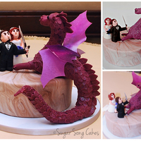 "Groom Vs. Dragon 9"" round featuring a gum paste groom defending his bride from a dragon. Dragon had wire armature and was made from rice krispie treats..."