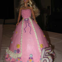 "Barbie Cake Deep chocolate cake filled with chocolate BC iced with vanilla BC.wonder mold pan on top of 8"" round (if you use a real doll in the WM..."