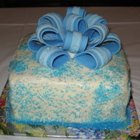 Blue Bow Cake My very first bow! needs some work. red velvet cake with cream cheese icing sprinkled with sparkling sugar. I don't like working with...