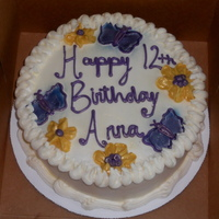 Cake With Buttercream Butterfly/Flower Birthday cake