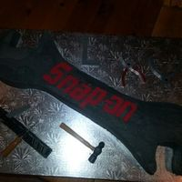 Snap-On Wrench Made this for my son-in-law. I used two 8 in round cakes for each end and carved out the center from a 1/2 sheet cake. The inside is red,...