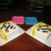 Baby Reveal Party I made two cakes, one blue & one pink. Used bc icing, fondant bees, ribbon and letters. The baby feet is white chocolate. The mama-to-...