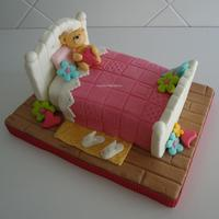 Girly Bed Cake It was a last minute order!!! I wanted to added a girl sitting on the bed ... I had no time!!