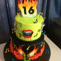 Rock N Roll 16Th Birthday Buttercream frosting with fondant, RI designs