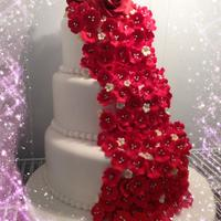 Sugar Flower Cascade *Cake Boss inspired cake... Backset tiers, hand made roses, baby's breath and fruit blossoms