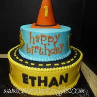 Construction Theme Cake   2-tier buttercream cake with fondant details - first birthday construction theme.