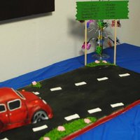 Volkswagon Birthday Cake  We had a surprise party for my moms birthday. I made her a red volkswagon because in the 70's that is what she drove. The green road...