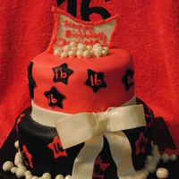 Sweet 16 Birthday Cake Sweet 16 birthday cake. All MMF fondant, airburshed black tier.