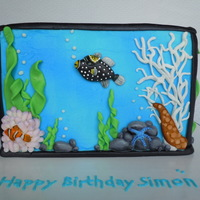 Fish Tank Cake 9 x 6 x 4 inch triple chocolate cake with orange marmalade filling and orange flavored butter cream. All the fish are hand painted fondant...