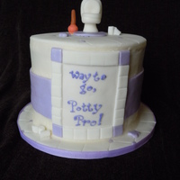 "Potty Pro Cake ""Way to go, Potty Pro!"" potty cake for a BIG girl celebrating her monumental achievement. six inch round, three layer, triple..."