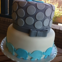 Elephant Baby Shower 2 tier fondant cake.