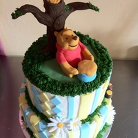 Pooh Baby Shower Cake   2 tier buttercream cakes. All the decorations are made of fondant with the exception of the grass.