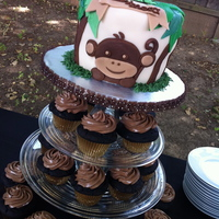 "Monkey And Frog Themed Baby Shower Cake 6"" carrot cake with cream cheese filling. Cake is covered in fondant."