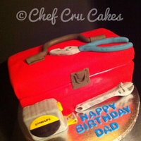 Toolbox Birthday Cake   All decor is made of fondant. The cake was Red Velvet with Cream Cheese frosting.