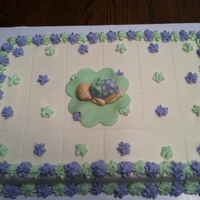 Baby Butterfly Cake 1/4 sheet Butter Cake with Vanilla Buttercream Icing. Gumpaste Baby from Mold. TFL...