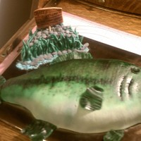 Bass Fishing  Vanilla Cake covered in mmf. Fish scales were done with end of #12 tip. Fins are 50/50. Airbrushed and some hand painting. I had never done...