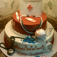 Nurses Cake Buttercream with fondant accents. Thanks to so many images on here. My friend loved it!