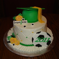 Nikki's Grad Cake   Another 6 inch cake for on top of a cupcake stand. Also made 100 gold and green cupcakes. TFL