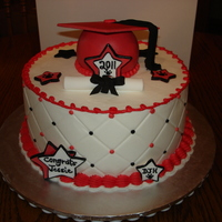 Jessie's Grad Cake   This is an 8 inch buttercream with fondant decorations. TFL