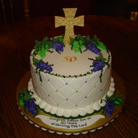 Father Don's 50Th   This was for Father Don who celebrated 50 years of holy church service. All buttercream with gumpaste cross. TFL