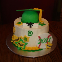 Tylers Grad Cake   6 inch cake that went on top of a cupcake tier. Also made 100 cupcakes. TFL