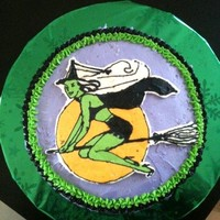"Wicked Witch my first try at a ""frozen buttercream stencil"", my piping needs practice,lol"