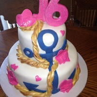 Sweet 16 Nautical Anchor Cake Sweet 16 Nautical Anchor Cake