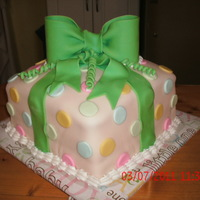 One Tier Baby Shower Cake Yellow cake with homemade marshmallow fondant.