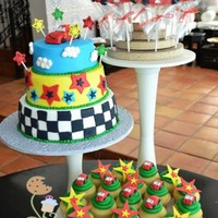 Cars Themed Cake, Cookie Pops, And Cupcakes