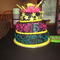 Neon Birthday Cake I know it turned out a little lop sided, but this was my first tiered cake