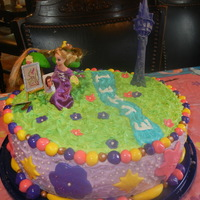 Tangled Cake My daughter's 7th birthday cake. White cake with white frosting & MM fondant.
