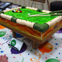 Pool Table Birthday This cake was way easier than I imagined it would be! Everyone loved it! It is 9x13 spice cake with buttercream frosting. The green felt is...