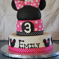 Minnie Mouse 3Rd Birthday 6 and 10 inch layers covered with fondant. Minnie mouse head is RKT covered with fondant. Thanks for the ideas from cake central!
