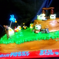 Angry Bird Cake buttercream w/ fondant accents