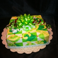 The Perfect Edible Gift Yellow Cake, wrapped in edible photo paper topped with real bow and curly ribbon