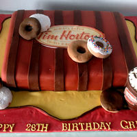 Tim Hortons Cake This was a surprise birthday cake made for the owner of a Tim Hortons. I am so pleased with how it turned out! Donuts are made from...