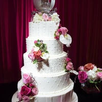 Traditional 5 Tier Buttercream Wedding Cake This is ALL cake and heavy!! There were a lot of firsts for me on this cake. This is the first time I have ever stacked on site. My first 5...