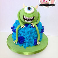 Monsters University Cake Photo of a cake was given to me by customer. I love how this turned out! Mike is made from Rice Krispies.
