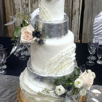 Silver Leaf And Ruffle Wedding Cake