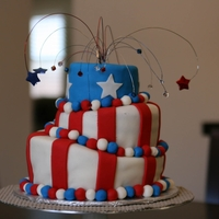 Memorial Day Topsy Turvy Cake 2012 First topsy turvy cake. White fondant is Marshmallow and colored is Satin Ice. My husband is in Afghanistan right now so this cake is...