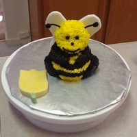 Honey Bee Bear I used the 3-D mini bear pan. Fondant wings and shoelace licorice for antennae. Fondant tulip brushed with luster dust.Pound cake used and...