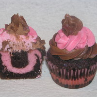 Two Tone Cupcakes I did these for my daughters birthday party. She wanted the cupcakes to match her pink and chocolate theme