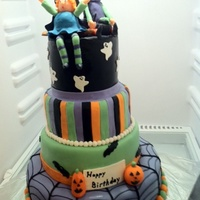 Halloween Birthday Cake This is a cake I made to celebrate my daughter and nieces birthdays. They had a haloween costume party! This is a marble cake with...