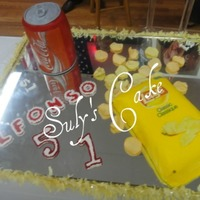 Cocacola And Lays Cake in buttercream cake